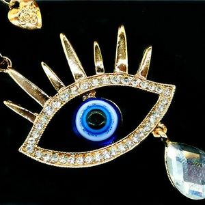"Jewelry - Art Deco Crying Eye Pendant Necklace Large 3"""
